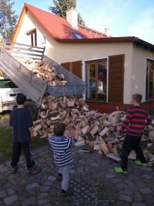 Das Holz wird angeliefert. Großes Gebrüll bei den Jungs.